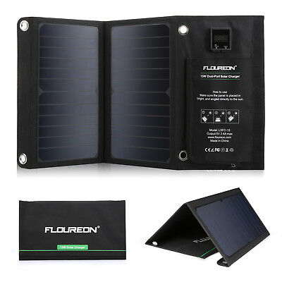 FLOUREON 15W 2-USB Port Solar Charger Panel Foldable Outdoor Phone Charge Pad