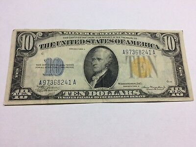 1934 A $10 Dollar Yellow Silver Certificate - North Africa