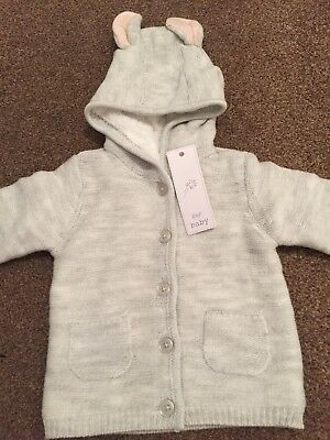 Bnwt Baby Girl/boy/unisex Grey Knitted Jacket Age 12-18 Months With Ears