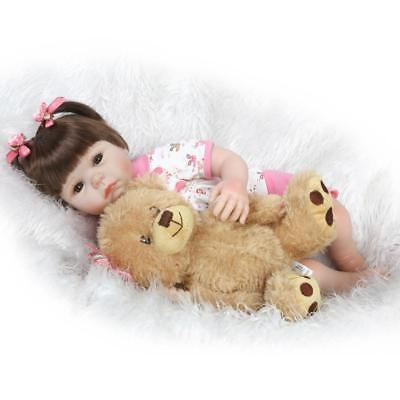 """22"""" Asian Baby Girl Doll Realistic Gentle Touch Vinyl Weighted Reborn Doll +Bear"""