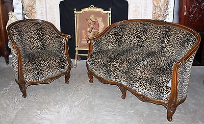 Antique Country French Louis XV Walnut Salon Canape Sofa & Arm Chair Circa 1850