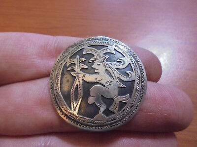 Vtg 800 silver unique etched warrior pin brooch 5.4 grams from Guatemala
