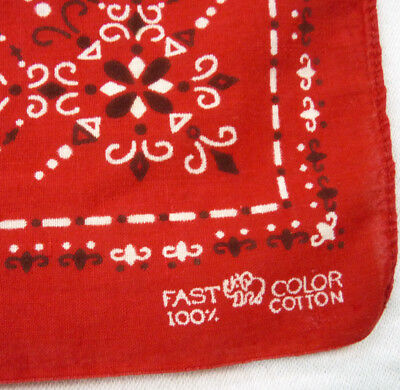 Vintage Red 100% Cotton Bandana Fast Color Elephant Trunk Up Handkerchief Hanky