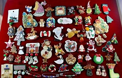 HUGE LOT 60+ Ceramic Christmas  Brooches Trees Santa Angel Snowman some signed