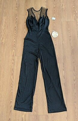 NOS Vtg 70s Jumpsuit New Leaf California Disco Party Black Polyester Romper