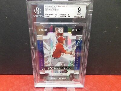 Mike Trout 2009 Donruss Elite Extra Edition Aspirations Die Cut Rc 132/200 Bgs 9