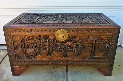 """1930-40s ORNATE Carved Chinese Camphor Wood LARGE 40"""" Chest Trunk Blanket"""