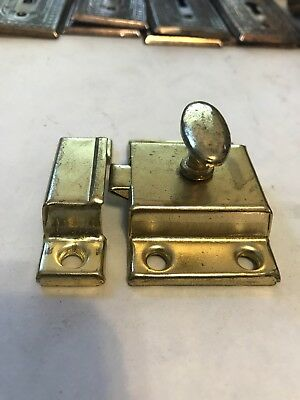 Vintage Brass Plated Steel Cabinet Cupboard Door Window Latch Lock Catch
