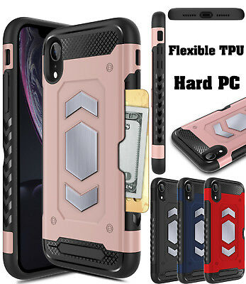 For Apple iPhone XR Hybrid Case Rugged Card Wallet Slot Rubber Hard Armor Cover
