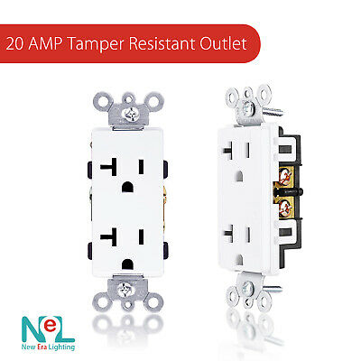 20A Duplex Receptacles, Child-Proof, Decora, with Free Wall plate l 10 pack