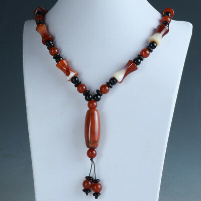 15.75''100% Natural Agate Handwork Decoration Necklace RX056