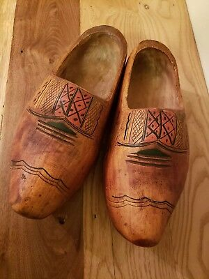 Vintage Dutch wooden shoes clogs solid carved wood collectables Holland