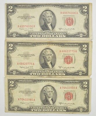 Lot (3) Red Seal $2.00 US 1953 or 1963 Notes - Currency Collection *275