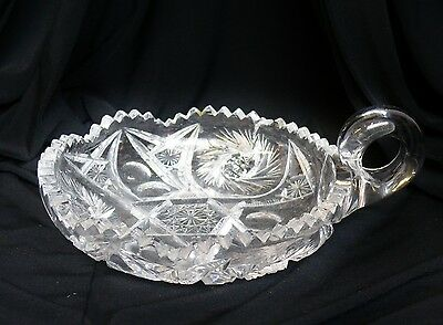 Antique American Brilliant Period ABP Cut Glass Nappy Dish Bowl Pinwheels Stars