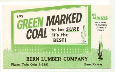 c1940s Bern Kansas Green Marked Coal Franklin County Coal ad blotter