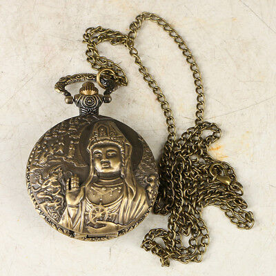 European Exquisite Classical Copper Carved Kwan-yin Pocket Watch @LB38
