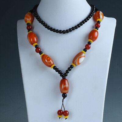 17.71''100% Natural Agate Handwork Beads Necklace RX043
