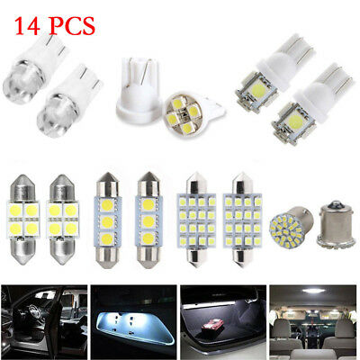 14Pc Super White LED Interior Package Kit T10 31mm Map Dome License Plate Lights