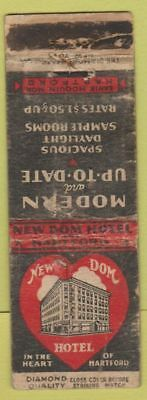 Matchbook Cover - New Dom Hotel Hartford CT DQ POOR