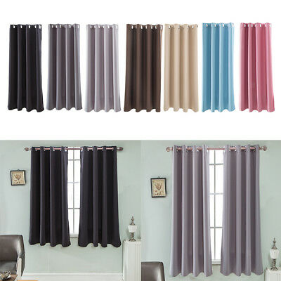 1 Panel Solid Color Polyester Blackout Curtains Panels Home Window Privacy