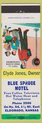 Matchbook Cover - Blue Spruce Motel Eldorado KS Clyde Jones