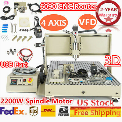 110V 2.2KW VFD 6090 4 Axis CNC Router Engraver 3D Milling Drill Machine USB Port