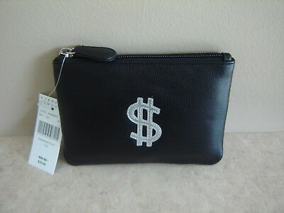 Barneys New York Black Leather Coin Card Case Pouch With Silver $ Sign NWT!!!