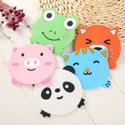 1pc Cup Mat Lovely Cartoon Placemat Animal  Shape PVC Coasters Soft Pad Holder