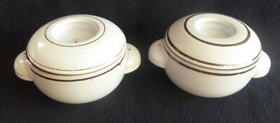 TWO Denby Stoneware Pottery Individual Small Casseroles / Soup Bowls White Brown