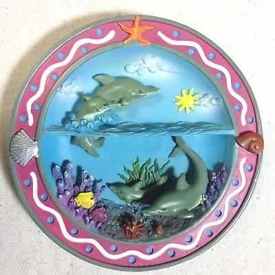 Dish small plate Dolphins at play divided scene sea sky tropical fish coral 3D