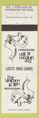 Matchbook Cover - Unicorn and Lion Restaurant Kennebunk ME