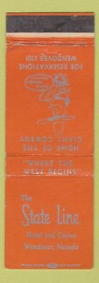 Matchbook Cover - The State Line Hotel Casino Wendover NV ORANGE