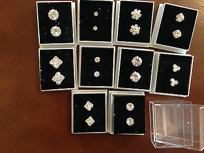 JOB LOT-10 different pairs of crystal diamante stud earrings.Gift boxed.UK made.