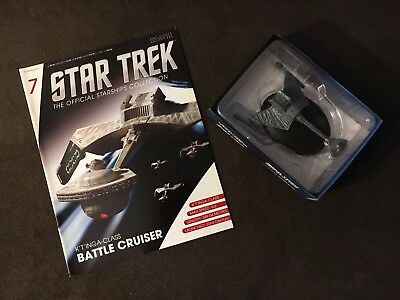 "#7 Star Trek  6"" Die-Cast K'T'INGA-Class Battle Cruiser from UK/Eaglemoss w Mag"