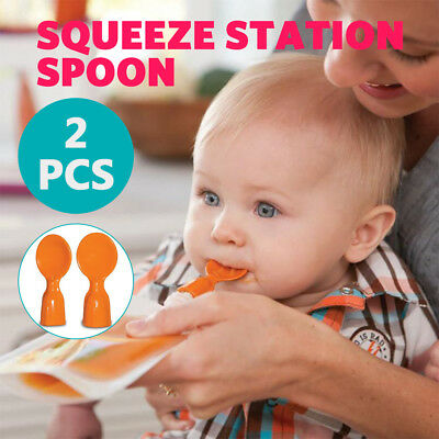 2 PCS Baby Feeding Food Squeez Station Spoon Reusable Toddler Infant Fruit