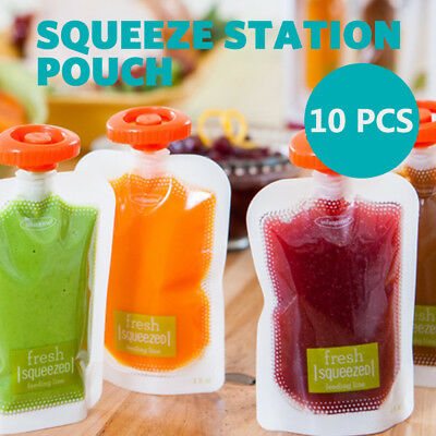 Baby Feeding Food Squeeze Station Pouches Fruit Maker Dispenser Storage Kit DIY
