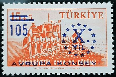 Turkey 1959 Sc # 1440 10th Anniversary Council of Europe MNH Mint Stamp
