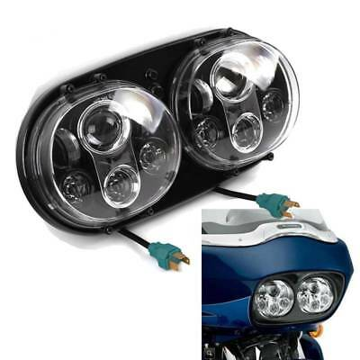 For Harley Headlight LED Dual Projector Daymaker Lamp 90W Road Glide 03-13