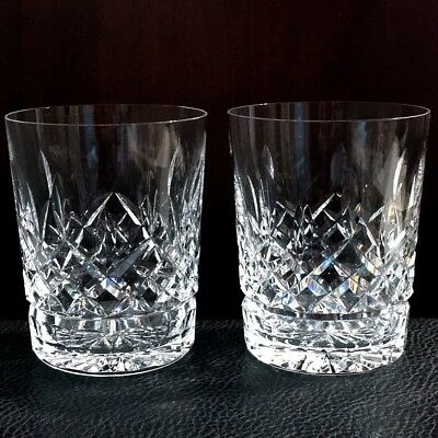 Vintage Pair Waterford Crystal Lismore Pattern Double Old Fashioned Glasses (2)