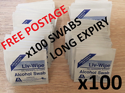 100x ALCOHOL SKIN SWABS WIPES 70% ISOPROPYL MEDICAL LIV-WIPE PAD SCREEN CLEANER