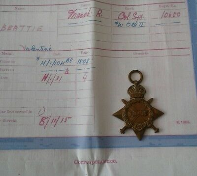 WW1 Medal 1914-15 Star To Valentine Beattie Manchester 18th Pals Battalion