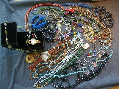 Job Lot of Vintage Costume Jewellery,Glass Bead Necklaces & Bracelets+Odds&Ends