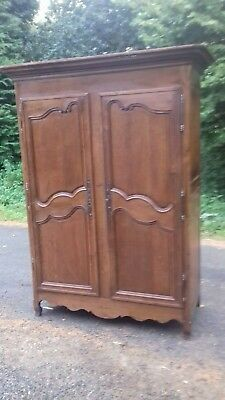 Antique Handmade Carved 18Thc Handmade  Ancient French Armoire With Iron Key
