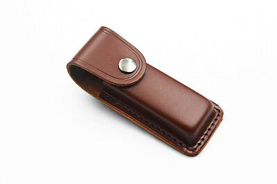 Cowhide Leather Sheath For Folding Knife Pouch Case up to 11cm Close Gift NEW