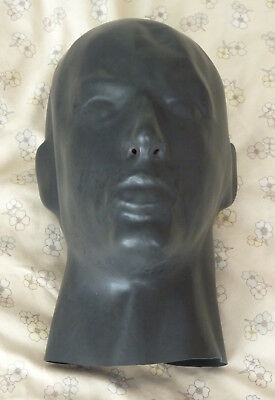 Male 1mm Latex Rubber ENCLOSED Shaped Hood Rear Zip Mask fitted nose tubes gag