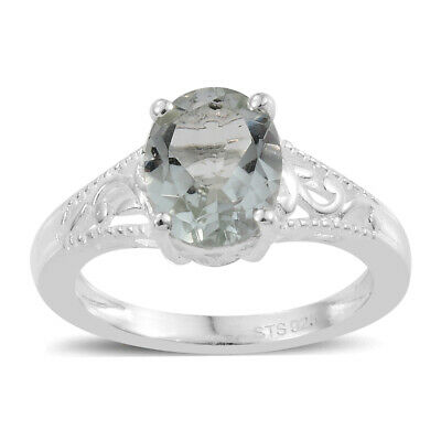 925 Sterling Silver Green Amethyst Promise Statement Ring Jewelry Gift