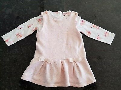 Baby Girls Ted Baker Pinafore Dress 9-12 Months with bunny print Top