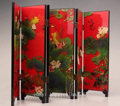 china's antique lacquerware screen decoration collection paintings lotus home c0