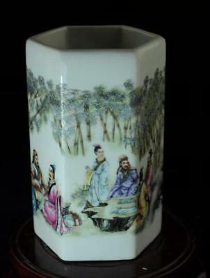 china old pastel porcelain hand painted bamboo forest seven sages brush pot b02