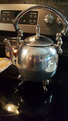 Vintage Sheridan Silver On Copper Tea Pot Kettle Silver-plate Footed